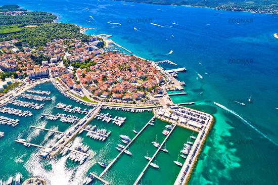 Biograd na Moru historic coastal town aerial view