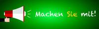 Join us or do it in German language written on blackboard megaphone and chalk