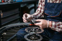 Bicycle mechanic fixing cycle wheel in repair shop. Velocipede service. Repairer male bike shop engineer fix bicycle wheel in workshop. Technician fixes bike parts. Handyman at work in the workplace