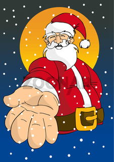 Christmas series: Happy Santa giving hand
