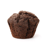 Unwrapped chocolate muffin