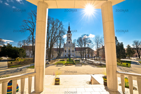 Town of Bjelovar central square springtime view