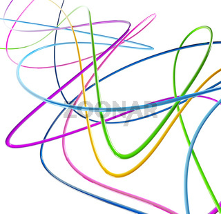 fibre optical funny colored wires mixed on a white background