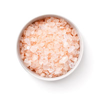 Pink Rock Salt In White Bowl Isolated