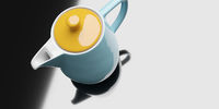 yellow turquoise ceramic coffee pot