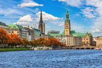 Hamburg Germany, city skyline at Alster with autumn foliage season