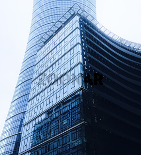 Corporate office building in financial district, modern skyscraper in city downtown, commercial real estate business and contemporary architecture