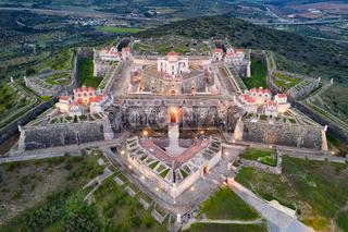Elvas Fort drone aerial view of Forte Nossa Senhora da Graca in Portugal