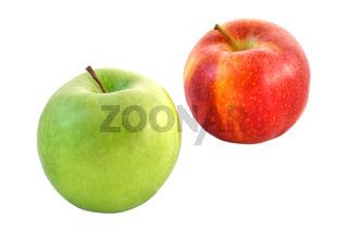 Grüner und roter Apfel - freigestellt