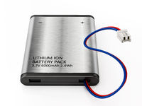 Generic lithium Ion battery with connection cable isolated on white background. 3D illustration