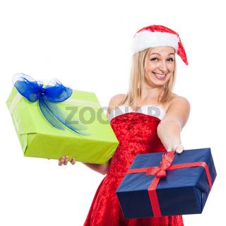 Ecstatic Christmas woman giving presents