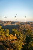 Sortelha nature landscape view with mountains, trees, boulders and wind turbines at sunset, in Portugal
