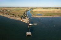 Amazing Drone shot of fishing huts in adriatic coast