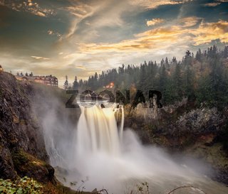 Snoqualmie Falls at sunset in Washington State