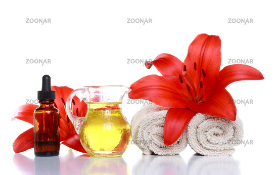 Spa Still Life - Essential Oils, Lilies and Towels