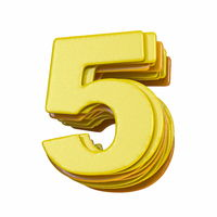Yellow font Number 5 FIVE 3D