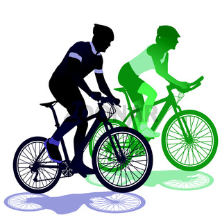 ein Paar beim Fahrradfahren.eps
