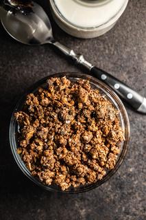 Chocolate breakfast cereal. Morning granola.