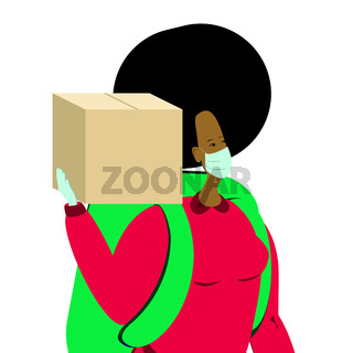 A black female character holding a cardboard box,