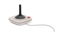 black retro joystick with red button