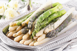 Asparagus on silver tray