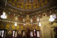 interior view to Spotted Mosque Alaca Cami Kalkandelen aka painted mosque, Tetovo, North Macedonia