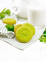 Cookies mint with napkin on light wooden board