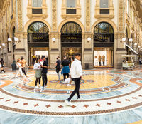 Fashion shopping in Milan, Italy. People walking in front of a famous luxury boutique.