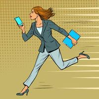 a businesswoman runs with a smartphone. Modern woman at work