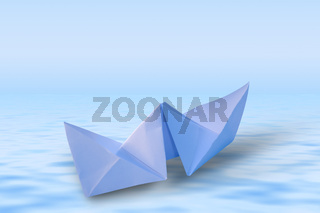 Paper Ship in a render blue sea
