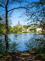 Laxenburg castle (Franzensburg) near Vienna (Austria) with the lake in the foreground