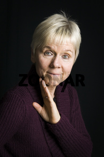mature woman on black