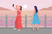 Device addiction flat color vector illustration