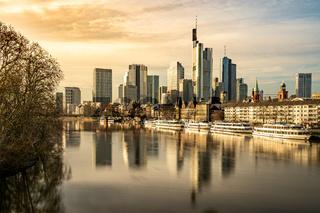frankfurt skyline with reflections in the main river, frankfurt am main, germany