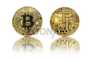 Bitcoin gold coin on white