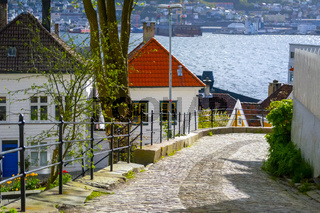 Cozy cobblestoned street in the historical center of Bergen, Norway