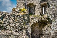 Ruined Llansteffan castle in Carmarthenshire, Wales, UK