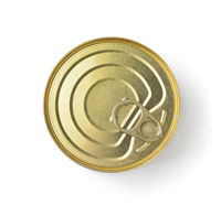 Top view of golden ring pull tin can