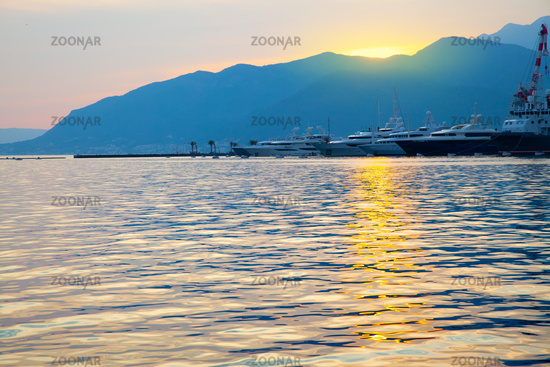 The Bay of Kotor at sunset and Porto Montenegro