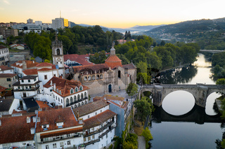 Amarante drone aerial view with beautiful church and bridge in Portugal at sunrise
