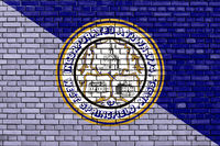 flag of West Springfield, Massachusetts painted on brick wall
