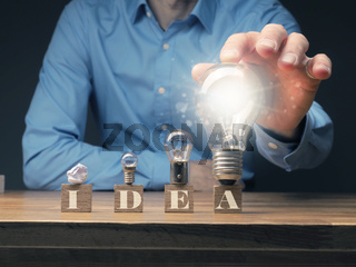 Four wooden blocks with the inscription New Idea and a crumpled paper ball and three different sized light bulbs