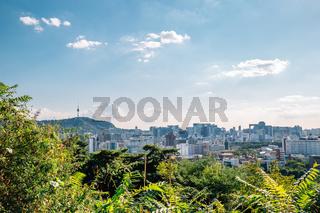Panoramic view of Seoul city in Korea