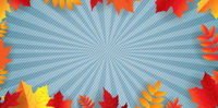 Autumn Border With Bright Leaves Blue Background