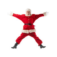 Santa Claus jumping isolated on white