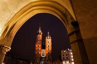 St Mary Church in Krakow at Night