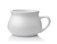 Side view of porcelain one handle soup bowl