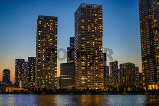 High-rise apartment group of Chuo-ku, Tokyo and evening