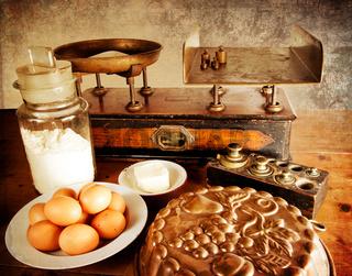 Vintage scales with ingredients