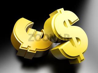 Dollar and Euro Smybols